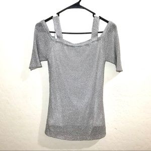 Chico's Metallic Shimmer 0 (s/4) Cold Shoulder Top
